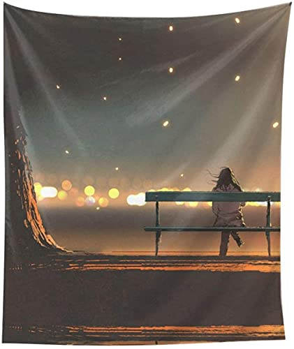 Giovane donna seduta sui parchi pittura stampa arazzo appeso a parete per camera da letto, dormitorio, versione verticale casa universitaria (60 x 51 pollici) -Nero-Taglia unica