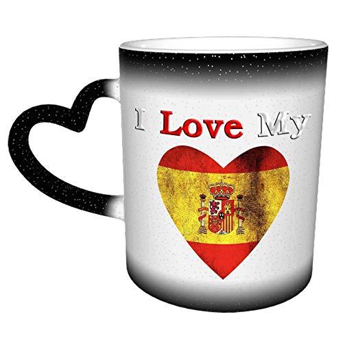 I Love My Spain Flag Mug - Tazas de café de cerámica de 11 oz - Regalos de cumpleaños divertidos e inspiradores para amigos, compañeros de trabajo, hermanos, papá o mamá