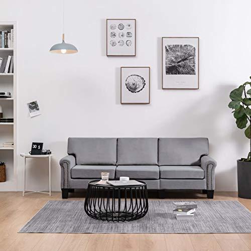 WooDlan Divano a 3 posti per reparto piccolo o camera degli adolescenti, tessuto grigio chiaro, 198,5 x 70 x 75 cm