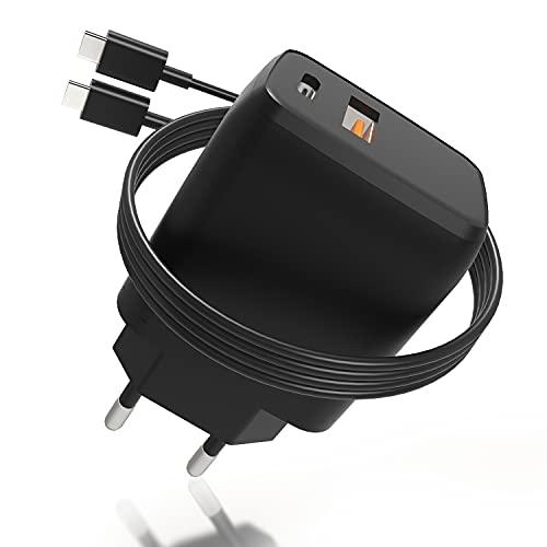Cargador rápido USB C de 20 W, Enchufe de Carga Arkidyn QC 3.0 Cargador rápido USB de 2 Puertos con Cable de Carga de 1 m, Compatible con iPhone 12/11 / Pro/MAX/Mini/SE/XR/XS (Negro)