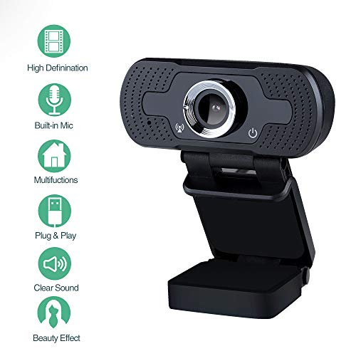 infinitoo Webcam 1080P Full HD mit Mikrofon, Autofokus USB Kamera Facecam Webkamera, PC/Mac/ChromeOS/Android/Xbox One, Schwarz