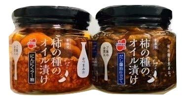 新潟【阿部幸製菓 柿の種のオイル漬け にんにくラー油 と だし醤油仕立て 160g 各1個ずつ 計2個セット