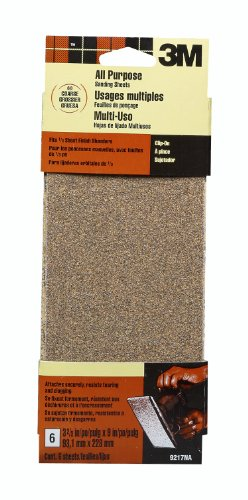 3M 9217NA 3 2/3-Inch by 9-Inch Power Sanding Sheets, Coarse Grit, 6-pack