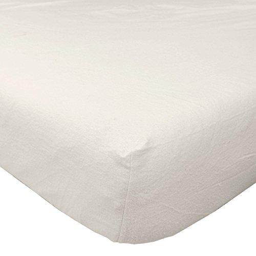 HOMESCAPES - Drap-Housse crème en Flanelle Grand Bonnet 180 g/m² - 140 x 190 cm