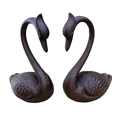 Bokstöd Animal Shape Bookends gjutjärn retro bok slutar metall bokstopp 1 par hand Bookend Creative Arts Bookends för hyllor Bokhylla dekor (Color : Swan)