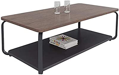 HTTXCJ Side Table Simple and Elegant Office Coffee Table, Living Room Solid Wood Countertop Coffee Table, Adjustable Table Legs, Practical, Double-Layer Design,120×60×45cm X8C8J8