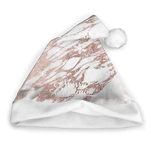 Sombrero de Papá Noel con Piedra de Roca de Oro Rosa, Unisex, Ribete de Piel Blanca, Sombrero de Navidad de Calidad, Sombrero de Papá Noel