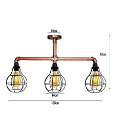 Industrial Retro Style Rustic Red Steampunk Pipe Light Bar with 3 Way Cage Lamp Shade Pendant Light Fitting Metal Pipe Lighting Ceiling Light Fixture #2