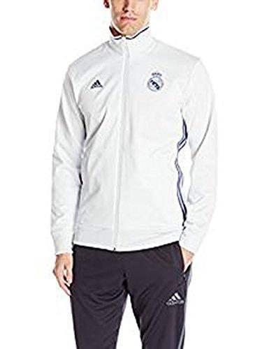 adidas Men's Real Madrid 3 Stripe Track Top, Crystal White, X-Large