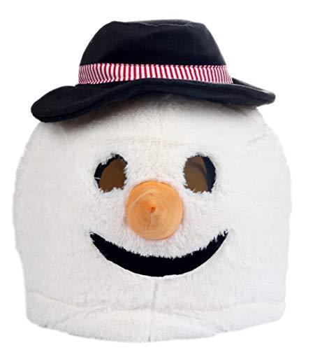 Christmas Plush Snowman Animal Head Mask Halloween Snowman Mascot Costume