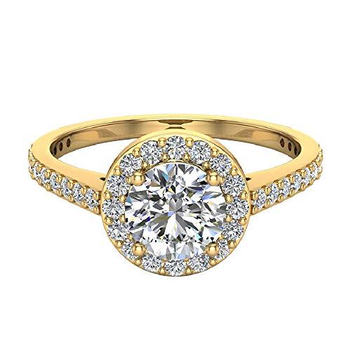 Anillo de compromiso con diamantes de halo de 1,15 quilates, peso total de oro amarillo de 14 quilates (tamaño del anillo 9)