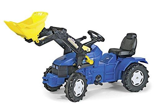 Rolly Toys 046713 rollyFarmtrac New Holland | tractor met oplader | tractor met zitverstelling, fluisterbanden | voorlader/schoffellader | vanaf 3 jaar | kleur blauw