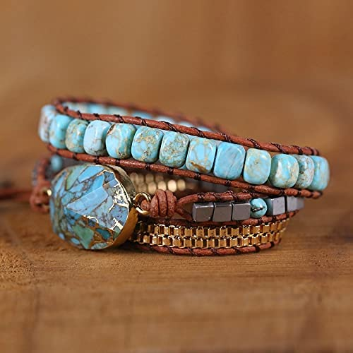 2021 New Turquoise Limited Miami Mall price Hand Woven Bracelet Multilayer Leather Natura