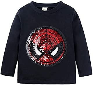 Yalla Baby Boys Kids Children Superhero Long Sleeves T-shirt Pullover Cotton Tops with Magic Flip Sequins 1-8 Years (Blac...