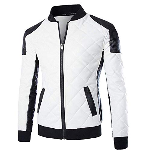 Cloud Style Men's latticed Baseball Bomber Jacket Slim Fit Coat, Small, White
