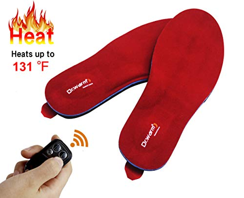 Best heated insoles - Dr.Warm Rechargeable Heated Insole with Remote Control Switch Wireless Foot Warmer for Hunting Fishing Hiking Camping Unisex [L]