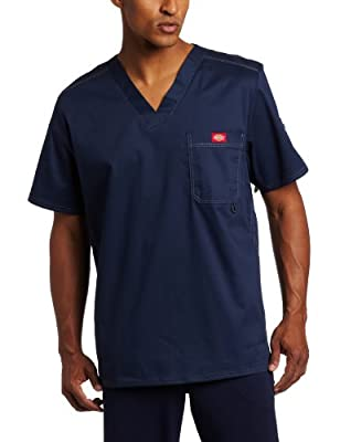 Dickies Men's Generation Flex Utility Scrubs V-Neck Shirt, Navy, Medium