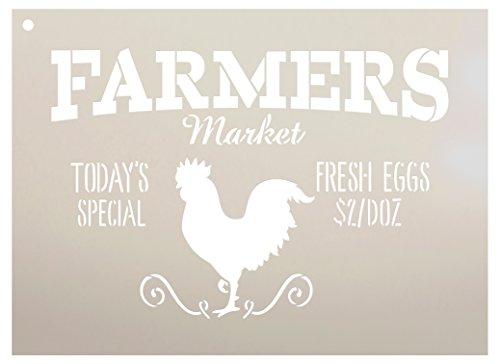 Farmers Market – Today's Special – Frische Eier $2/Dutzend Wort Schablone von StudioR12 – Rooster Word Art – STCL2186 – Größe auswählen 11