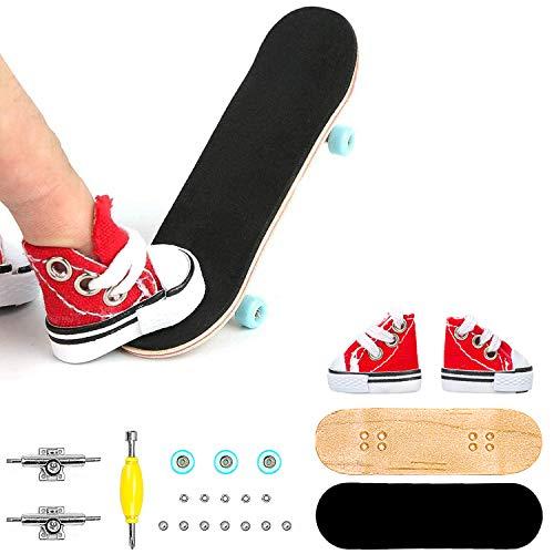 Finger Skateboards Professional DIY Finger Skateboard Kits for Kids, Maple Complete Wooden Fingerboard with Interesting Mini Skate Shoes
