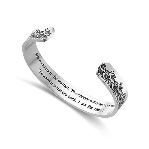 Liuanan Jewellery Silver Inspirational Cuff Bracelet I Am The Storm Bangle Bracelet Motivational Birthday Gift for Women Teens Girls