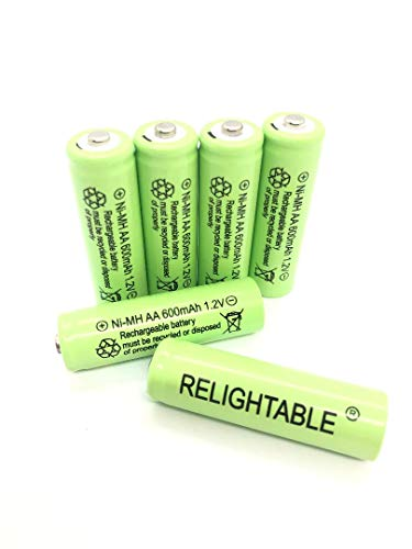 Relightable NiMH AA/AAA 600mAh 1.2V Rechargeable Batteries for Solar Lights, Garden Lights and Remotes (6PCS AA 600mAh Batteries)