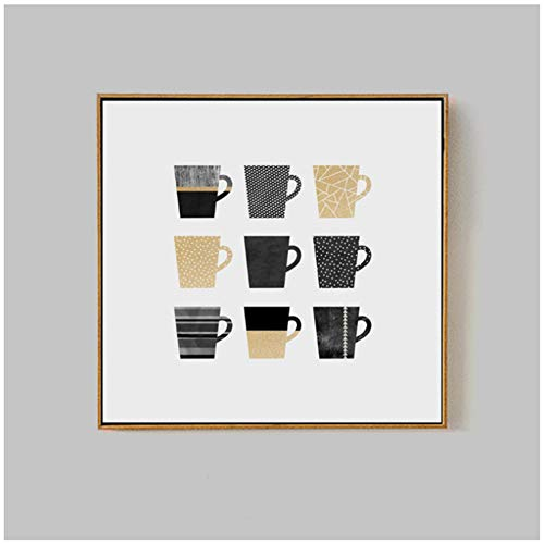 Quadro su tela con pois neri e dorati, stile minimale, stampa artistica da parete per soggiorno, decorazione domestica, 50 x 50 cm, senza cornice