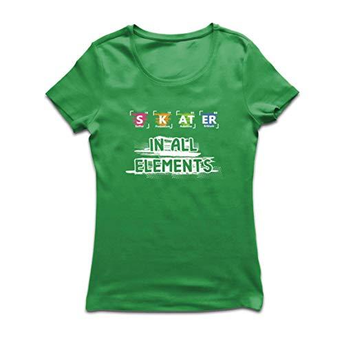 lepni.me Camiseta Mujer Patinador en Todos los Elementos Química Periódica de Mesa Deporte (Medium Verde Multicolor)