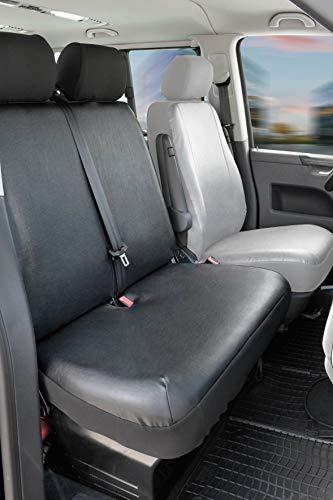 Walser 11520 Funda de asiento de coche ajuste de transportador, funda de asiento de imitación de cuero antracita compatible con VW T6, 2 asientos individuales en la parte delantera