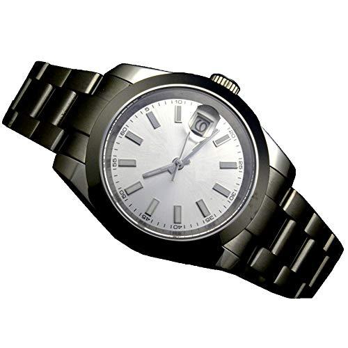 Reloj mecánico de acero inoxidable con esfera blanca de 41 mm y cristal de zafiro mecánico para hombre