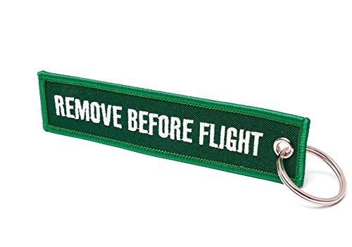 Remove Before Flight® Llavero, Racing Green / Weiße Schrift