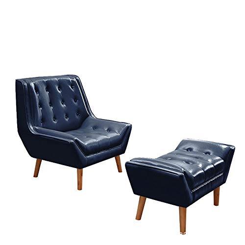 Tbaobei-Baby Sofa Klassische Ledersessel mit Fuß Hocker Ottoman for Wohnzimmer, Schlafzimmer, Club Offlounge Armchairice Flexibel (Color : Blue, Size : Free Size)