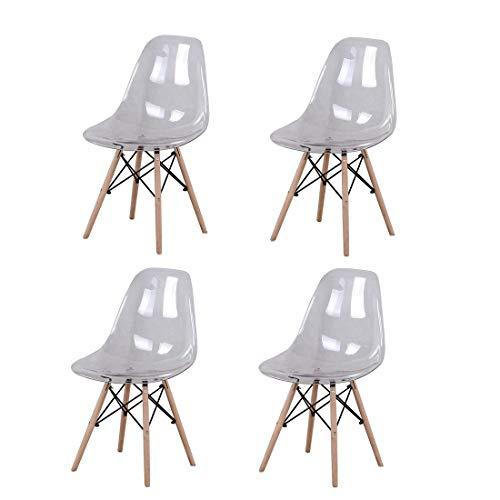 4 sillas transparentes de policarbonato cojín de madera maciza patas de metal, cocina, salón comedor, oficina, dormitorio, escuela, biblioteca al aire libre (transparente)
