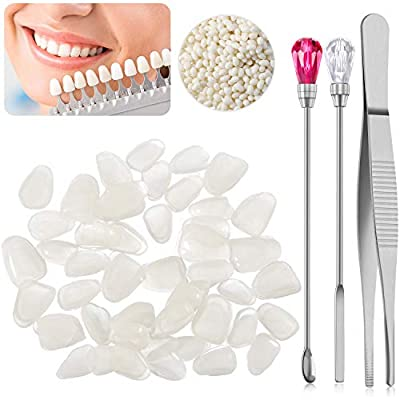 Set of Teeth Veneers with 50g Tooth Solid Gel and Stirring Needle Spoon Temporary Repair Kit Thermal Beads for Halloween Makeup Scary Theme Party Makeup Filling