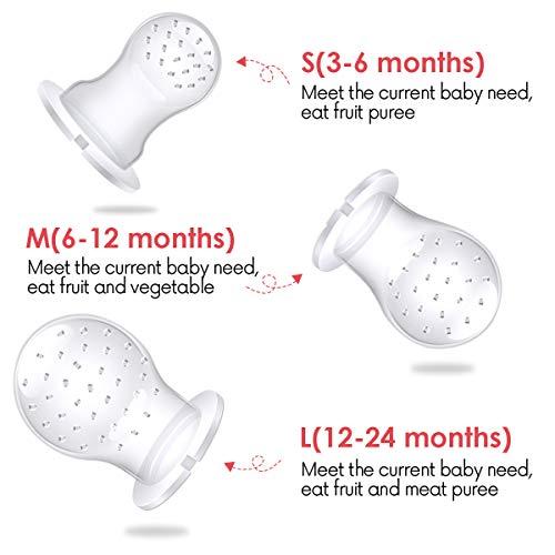 ANGELBLISS Fruchtsauger Baby/Schnuller, Schätzchen Schnuller Gemüse sauger für 3-24 Monate, 6 Silikonbeutel Beißspielzeug,BPA-frei(2 Stück) - 5