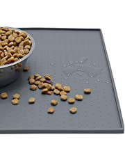 MKUTO ペットマット 猫 犬 食事マット シリコン製 給餌マット 猫砂マット トイレトレーマット 滑り止め 溢れ止め 撥水 防水 防汚 丸洗い(48x 30cm,グレー)