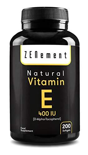Vitamina E Natural 400 UI (D-Alfa-Tocoferol)m 200 Perlas | con Aceite de Oliva Virgen Extra | Suministro para más de 6 meses | Antioxidante y Antiedad | No GMO, Sin Alérgenos | de Zenement