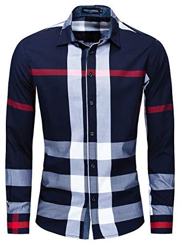 CLOTPUS 남자 코튼 롱 슬리브 캐주얼 플라이드 셔츠가 단추를 아래로 꺾은 정규 핏 199 블루 L