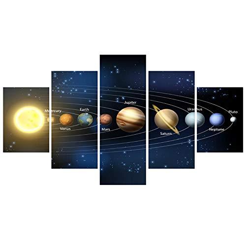 60Tdfc Decoración De Pared Cartel Arte Pintura para El Hogar Sala De Estar 5 Panel Nueve Planetas En Sistema Solar HD Imágenes De