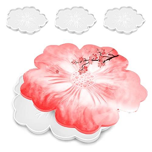 Moldes de silicona con diseño de flores, 6 unidades/4 piezas de ágata de cristal epoxi fundición de silicona para bandeja de té, bandeja de pasteles, bandeja de frutas, posavasos de vino,