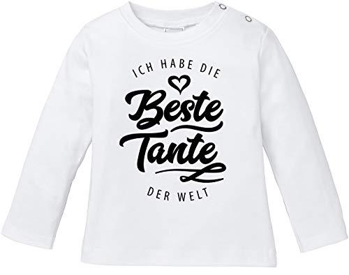 MoonWorks® Baby Langarmshirt Babyshirt Ich Habe die Beste Tante der Welt Spruch Geschenk Jungen Mädchen weiß 56/62 (1-3 Monate)