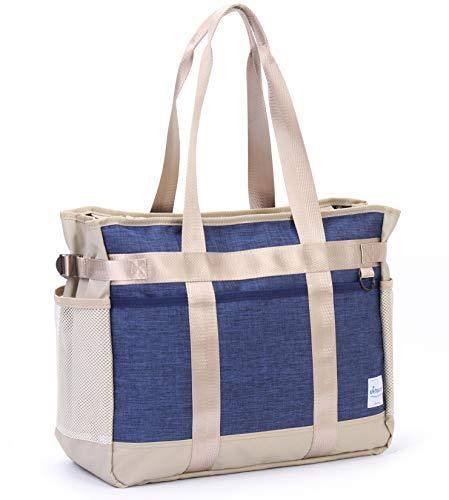 Teacher Utility Tote Bag with Multiple Pocket Lightweight Organizer Handbag for Nurses and Soccer Moms (Beige/Navy)