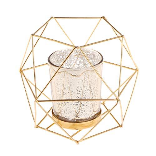 siwetg Portavelas de metal geométrico 3D estilo nórdico para boda, decoración del hogar