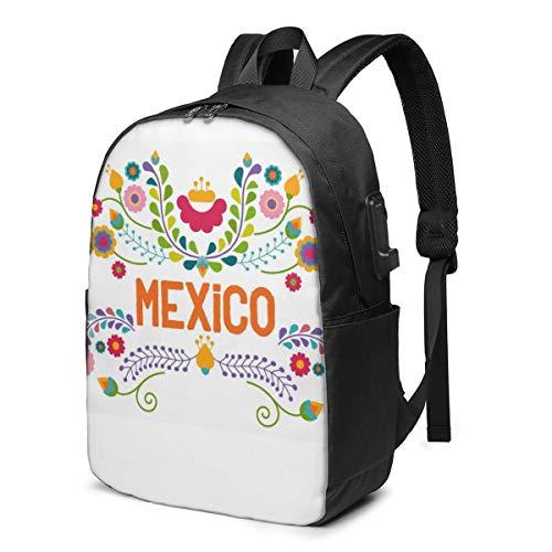 Sggual Elementos Florales Mexicanos Mochila de México para Estudiantes Escolares Mochila universitaria Viajes de Negocios con Puerto de Carga USB Portátil Apto para Equipaje de hasta 15.6 Pulgadas