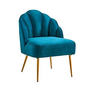 Ball & Cast Living Room Upholstered Accent Chair 23.5″W x 26″D x 32.25″H Teal,Velvet Set of 1