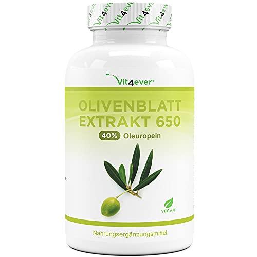 Olivenblatt Extrakt - 180 Kapseln mit je 650 mg - Olivenblattextrakt mit 40% Oleuropein = 260 mg - Laborgeprüft (Wirkstoffgehalt & Reinheit) - Hochdosiert - Vegan - Premium Qualität