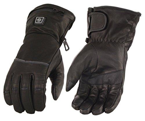 Milwaukee Leather Men's Heated Gantlet Glove w/Touch Screen-Black-Medium