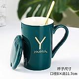 Heliansheng Tazza in ceramica con lettere fortunate Tazza regalo pratica creativa con cucchiaio da caffè Tazza da caffè - Tazza singola