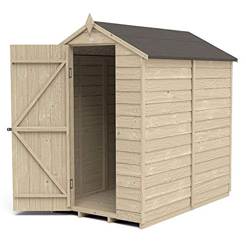 Forest Garden Overlap Pressure Treated 6x4 Apex Shed - No Window