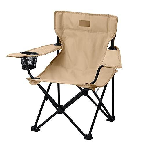アイリスオーヤマ キャンプ用品 チェア アウトドアチェア コンパクト収納 子供用 キャリーバック付き 簡単組み立て ドリンクホルダー スマホホルダー付き ゆったり座れる ベージュ CCM-HIGH