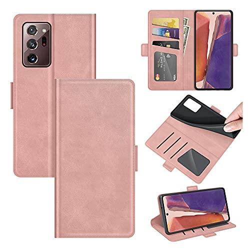 AKC Funda Compatible para Samsung Galaxy Note 20 Ultra Carcasa Caja Case con Flip Folio Funda Cuero Premium Cover Libro Cartera Magnético Caso Tarjetero y Suporte-Oro Rosa